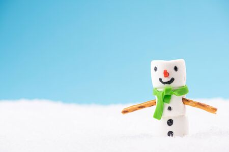 Funny Snowman Made of Marshmallow in Winter Holiday Scenery. Archivio Fotografico - 130873798