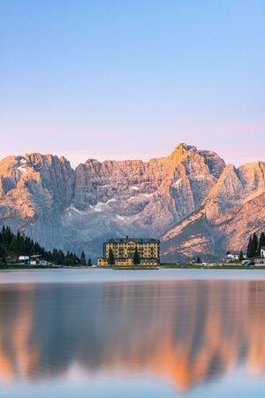 Beautiful Sunrise at Misurina Lake in Italian Dolomites Mountains.