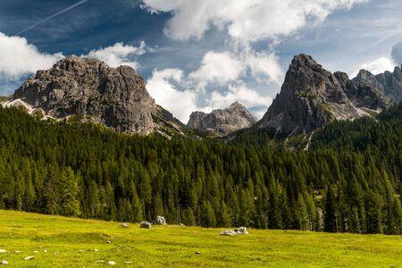 Panoramic View Over Tyrol Dolomites Peaks near Tre Cime di Lavaredo, Italy.