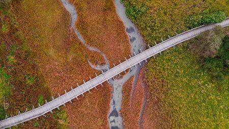 Wooden Bridge Over Autumnal Grassland. Abstract Pattern. Top Down Drone View. Archivio Fotografico - 131117869