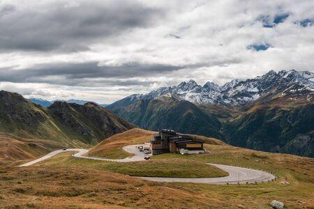 High Alpine Curvy Road in Austria Alps. Autumn Scenery at Grossglockner Alpine Road.