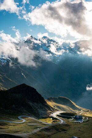 Curvy High Alpine Road in Dramatic Mountains Landscape, Grossglockner,Austria. Stock Photo - 131118335