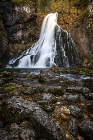 Golling Waterfall in Natural Autumn Light. Austria. Long Exposure Photography. Archivio Fotografico - 131118337