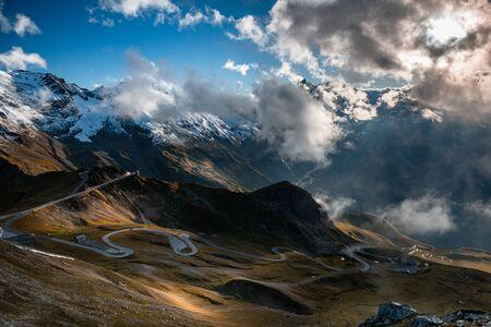 Curvy High Alpine Road in Dramatic Mountains Landscape, Grossglockner,Austria.