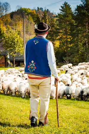 Traditional Polish Highland Shepherd in Regional Clothing at Sheep Pasture.