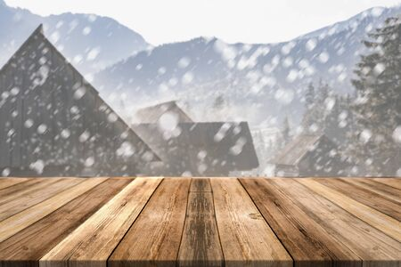 Wooden Board Product Display Montage or Background. Christmas or Winter Theme.