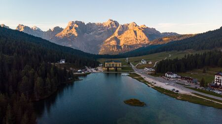 Misurina Lake at Sunrise. Aerial Photography from Drone.