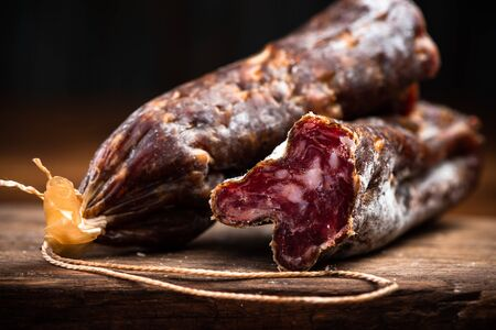 Hard Dried Pork Salami. Traditional and Regional Food.