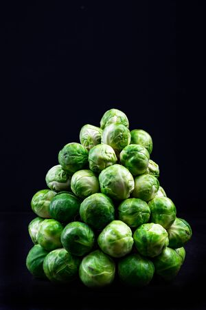 Creative and Healthy Christmas Tree Made of Edible Brussels Sprouts.