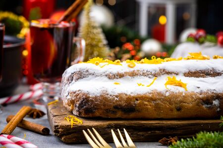 Christmas Cake on Festive Decorated Table.