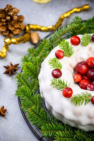 Homemade Christmas Fruit Cake Decorated with Red Cranberry. Standard-Bild