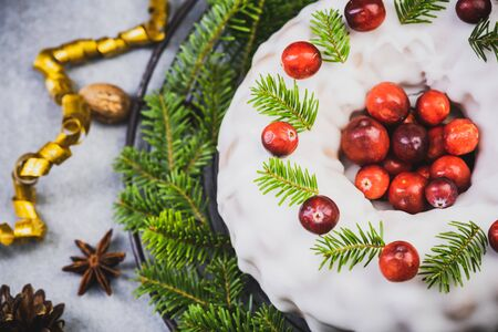 Festive Christmas Cake Decorated with Icing.