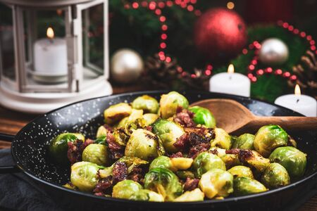 Fried or Roasted Brussels Sprouts with Bacon. Chrstmas Festive Healthy Dish.