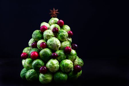 Creative Christmas Tree Made of Brussels Sprouts and Cranberry. Reklamní fotografie