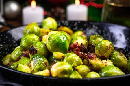 Roasted Brussels Sprouts. Regional Christmas and Festive Food. Reklamní fotografie