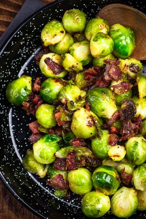 Brussels Sprouts with Ham or Bacon. Christmas Festive Food.