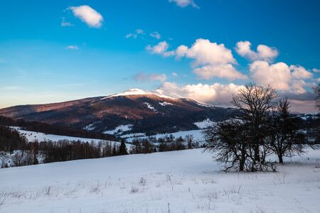 Cloudscape at Wetlina in Bieszczady Mountains, Poland at Winter Season.