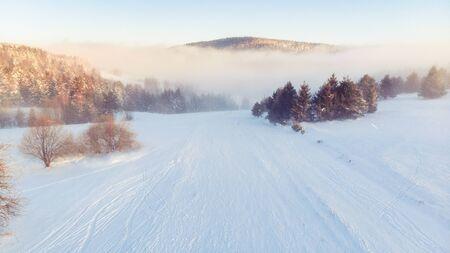 Cold Morning at Winter Season in Countryside at Sunrise. Reklamní fotografie