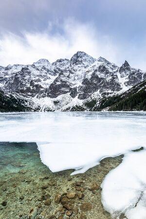 Winter at Morskie Oko or Sea Eye Lake in Poland Tatra Mountains.