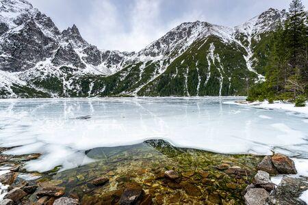 Scenic Landscape at Morskie Oko Lake in Poland Tatra Mountains at Winter.