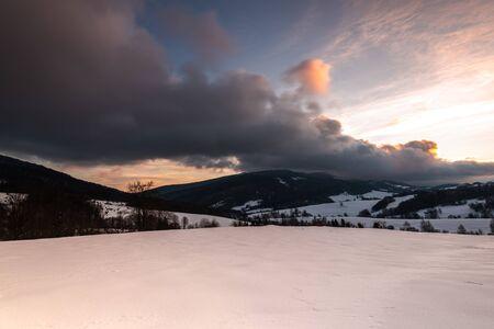 Sunrise at Bieszczady Mountains in Carpathia, Poland at Winter Season. Reklamní fotografie