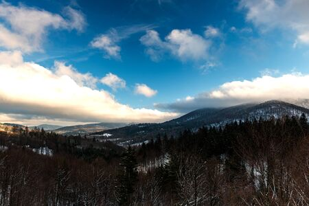 Panoramic View Over Bieszczady Mountains in Carpathia, POland at Winter Season. Reklamní fotografie