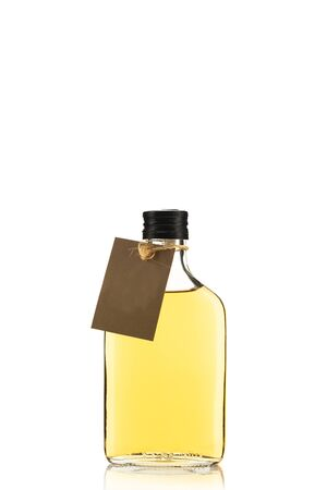 Bottle of Herbal Tincture or Alcohol Liqour Isolated on White Background with Empty Label. Zdjęcie Seryjne