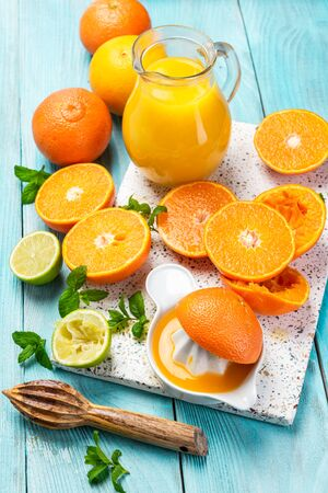 Fresh Refreshing Orange Juice. Hand Squeezed Homemade Orange Juice.