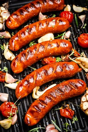 BBQ Grilled Meat Sausages with Herbs,Spices and Vegetables. Summer Party Food .