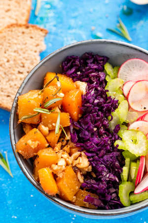Healthy Vegetarian Bowl with Colorful Vegetables.
