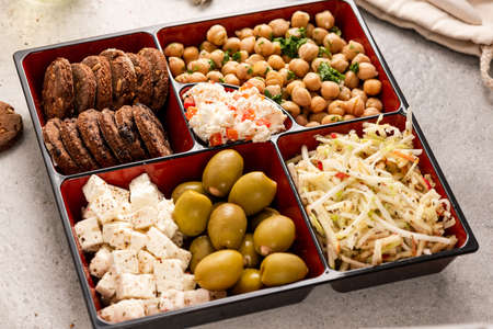 Lunchbox with Healthy Salad,Cookies. Bento for Office or Work Lunch.