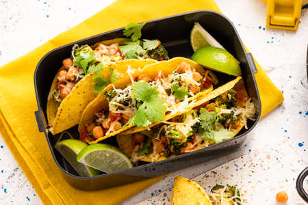 Mexican Vegetarian Taco with Broccoli. Take Away Lunchbox Brunch.
