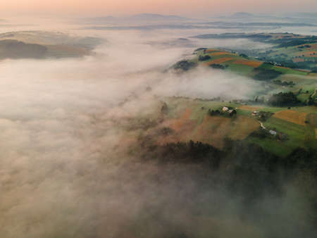 Drone View on Sunrise Above Polish Countryside in Mountains.