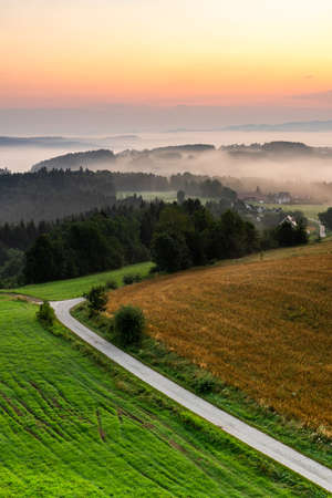 Beautiful Sunrise in Polish Mountains and Hillside at Ciezkowice in Lesser Poland.