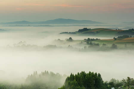 Rolling Hills in Mist and Fog at Early Morning in Summer Time in Poland.