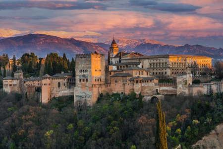 Alhambra Arabic Palace in Granada,Spain Illuminated at Twilight. Sunset Over Alhambra.