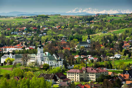 Monastery in Tuchow,Poland at Spring. Colorful Foliage. Sunny Day at Spring. Colorful Foliage. Sunny Day