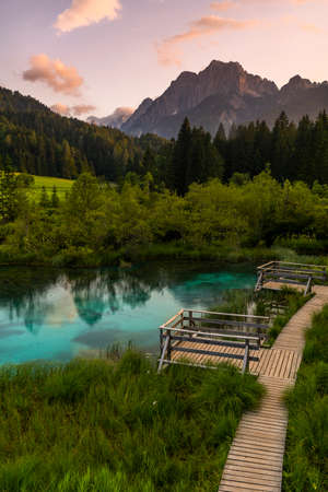 Turquoise Water in Zelenci Springs in Slovenia.