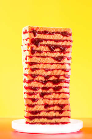 Toast Bread Tower Sandwich Stack With Jam on Bright Background