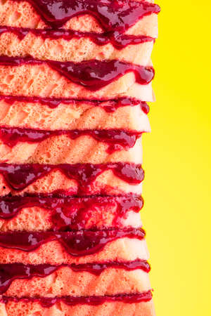 Bread Sandwich With Jam Tower Stack, Closeup View. 免版税图像