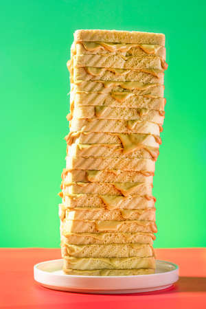 Toast Bread Tower Sandwich Stack With Peanut Butter  on Bright Background. 免版税图像