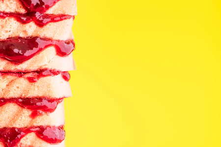 Bread with Jam Sandwich Stack on Bright Background.