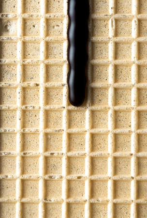 Hot Dark Chocolate on Waffel. Food Background.