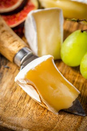Camembert Cheese Cut Closeup.