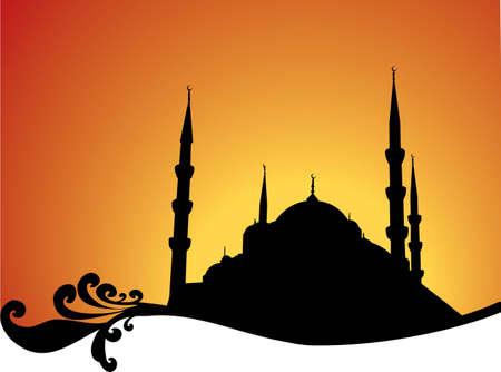 ottoman: Sultan Ahmet Mosque silhouette.