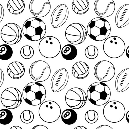 Different line style sport icons. Seamless pattern.