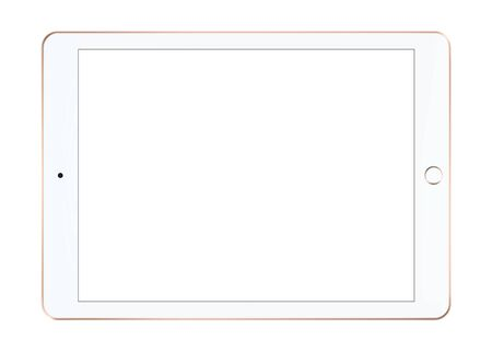 Isolated white tablet. Realistic vector file. Isolated in white background.