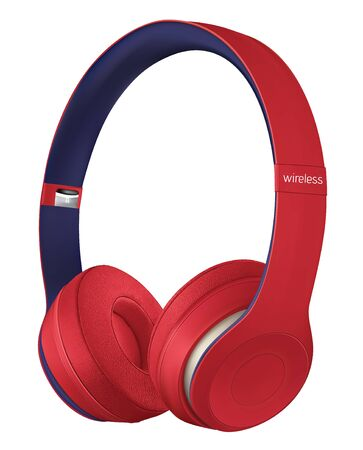 Red headphone isolate on white background. Realistic vector file.