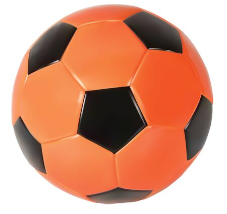 Realistic vector red soccer ball. Isolated in white background.