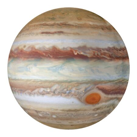 Planet Jupiter isolated on white background. Realistic vector.